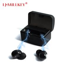 Mais novo Gêmeos Verdadeiro TWS Fones de Ouvido Sem Fio fone de Ouvido Estéreo Fones de Ouvido Sem Fio Mini Bluetooth Com Caso De Carregamento LJ-MILLKEY YZ139