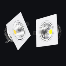 1pcs white square Dimmable Led downlight light COB Ceiling Spot Light 7w 9w 12w 85-265V ceiling recessed Lights Indoor Lighting