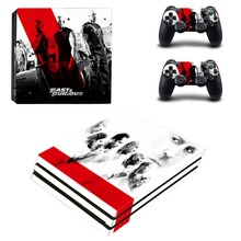 Fast & Furious PS4 Pro Skin Sticker Decal Stickers for Sony Playstation 4 Pro Console and 2 Controllers Full Cover