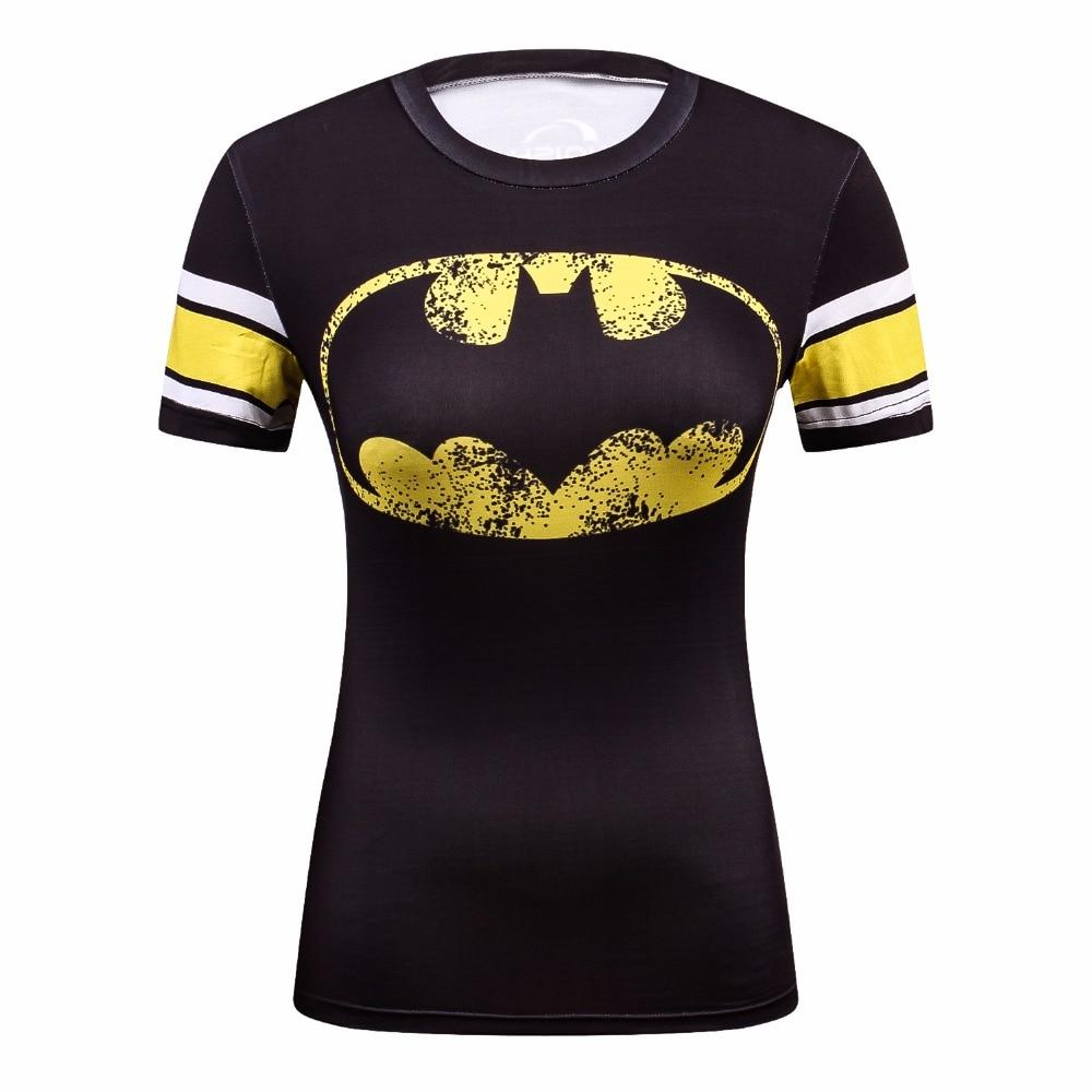 d1f32ba1e6 Superman T Camisa Mangas Curtas T-shirt da Aptidão de Secagem Rápida Mulheres  Camiseta De Compressão Calças Justas Feminino Apertado Camiseta Femme Tops