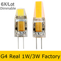 Dimmable G4 LED 12V AC/DC COB Light Real Power 1W/3W LED G4 COB Lamp Bulb Chandelier Lamps Replace Halogen LED Light 6pcs/lot