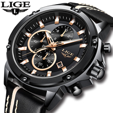 цена LIGE Mens Watches Top Brand Luxury Quartz Gold Watch Men Casual Leather Military Waterproof Sport Wristwatch Relogio Masculino
