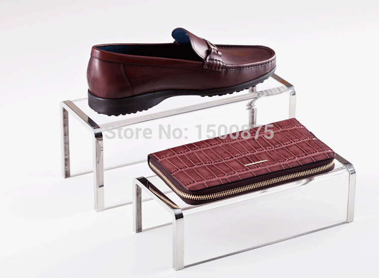 High grade Acrylic Shoe Handbag <font><b>Display</b></font> Stand Holderb Rack With Silver Color Stainless Steel Frame