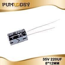 20шт высоким качеством 35V220UF 8*12мм 220UF 35В 8*12 электролитический конденсатор
