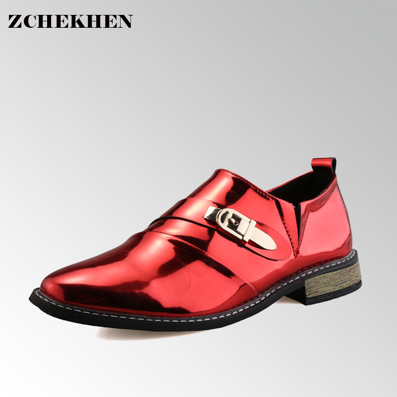 Fashion Buckle Men Casual Shoes All-match Red Patent Men's Pointed Toe Ankle Boots 2017 New Spring Chelsea Boots for Men #57 2017 new spring imported leather men s shoes white eather shoes breathable sneaker fashion men casual shoes
