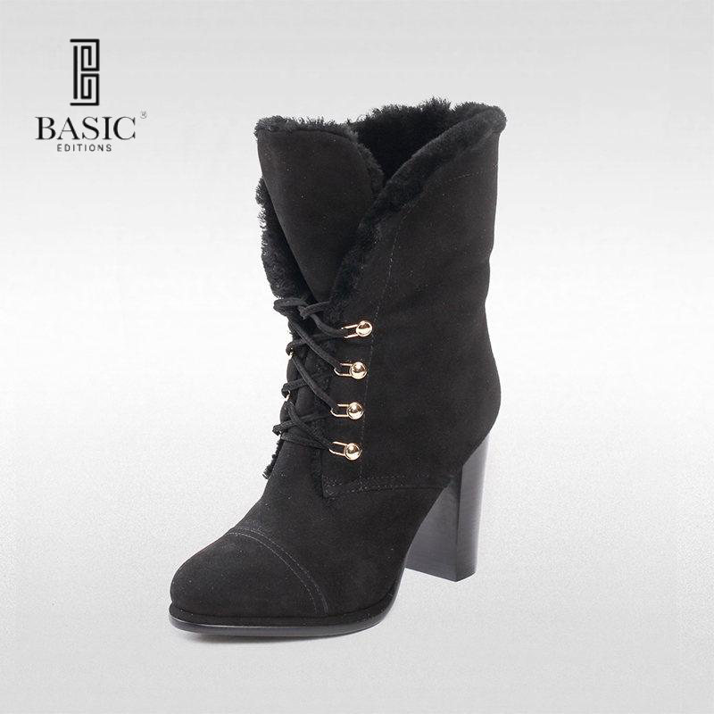 BASIC EDITIONS High Heel Boots Fashion Women Flippable Shoes Ladies Medium Heel Winter Ankle Boots - A2360-722QM basic editions women dark grey suede leather spike high heel chain accessories winter long boots 1105 1422 aj91