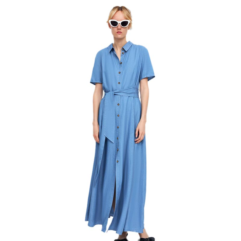 db5486052f5c8 HOT SALE] Vintage Adjustable Waist Summer Dress 2018 New Denim Women ...