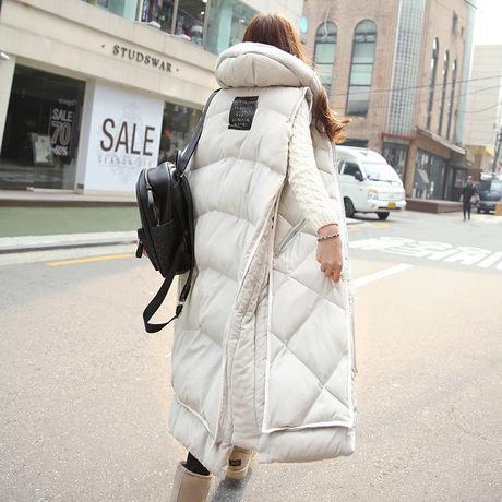 Hot Sell 2015 New Winter Vest Female Korean Style Hooded Vest Long Slim Down Winter Jacket Women'S Cotton Coat Casaco Feminino