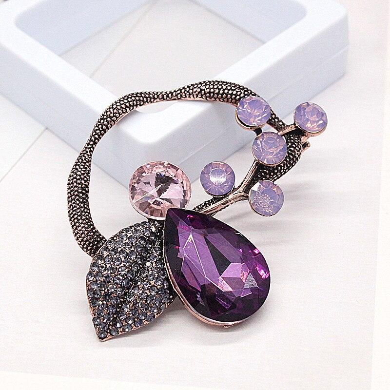 JUJIE Fashion Large Leaf Brooches For Women 2019 Vintage Original Purple Crystal Flower Men Brooch Pins Plant Jewelry Wholesale