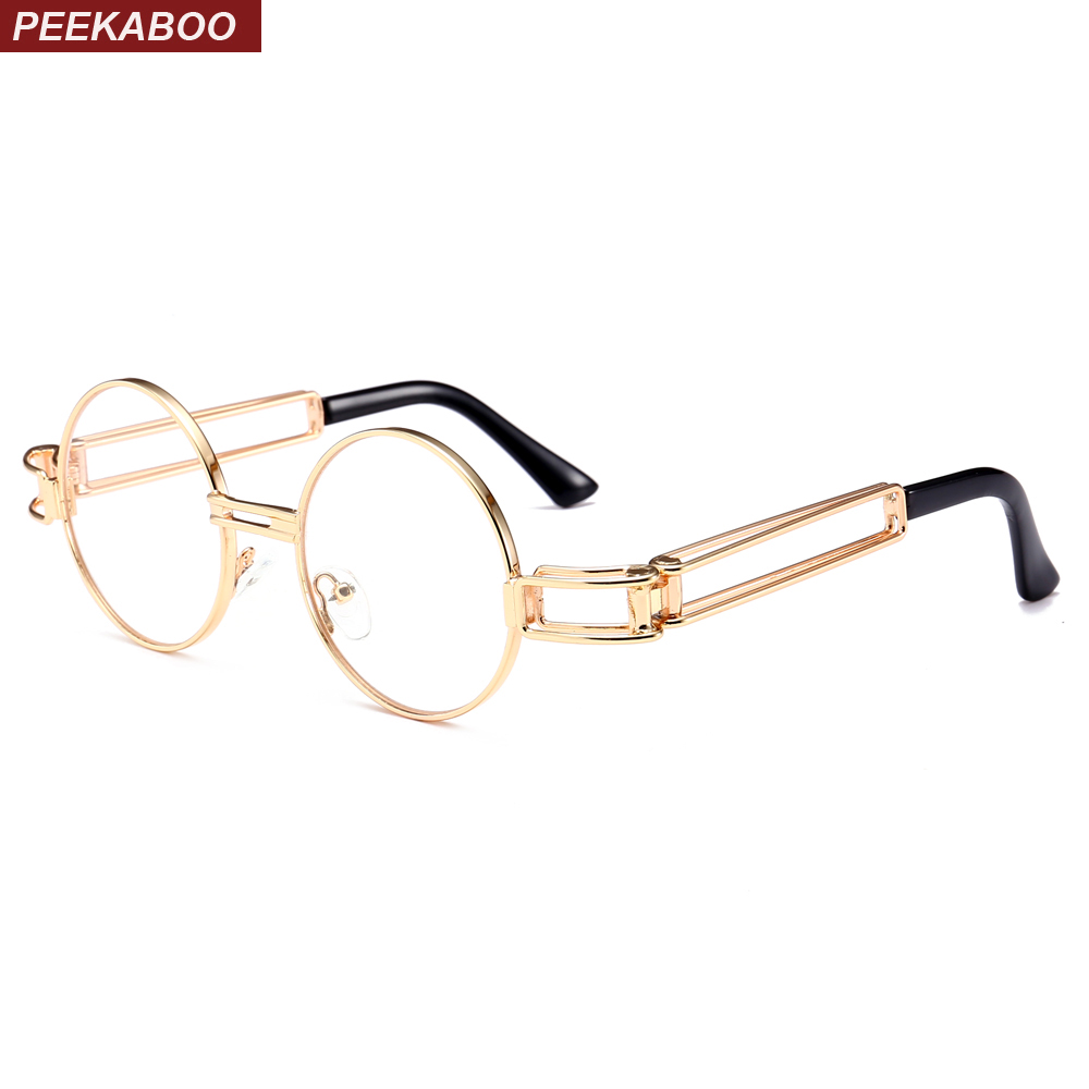 Peekaboo gold steampunk runde brillen frames männer retro 2018 ...