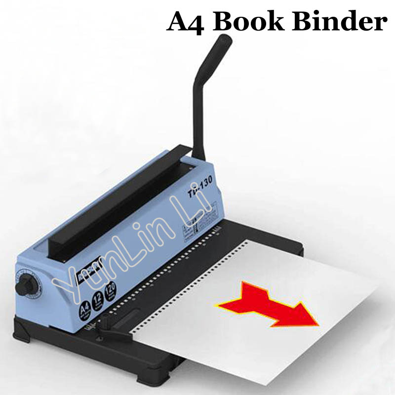 Manual A4 Book Binder Album Calendar Hole Puncher Wire Binding Machine Printing Paper TD-130 hp5016 manual a4 paper book binder comb wire binding machine paper folder binding machine