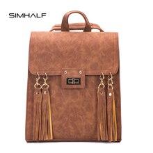 Simhalf Модные Винтажные женские кожаный рюкзак женский ретро кисточкой школьные сумки рюкзаки для девочек-подростков дорожная сумка Mochilas