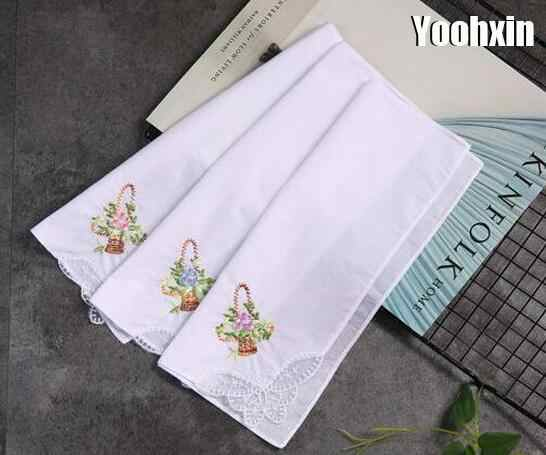 28CM Luxury Cotton white lace Handkerchief embroidered women square Handkerchief ladies hanky Children towel party wedding gift