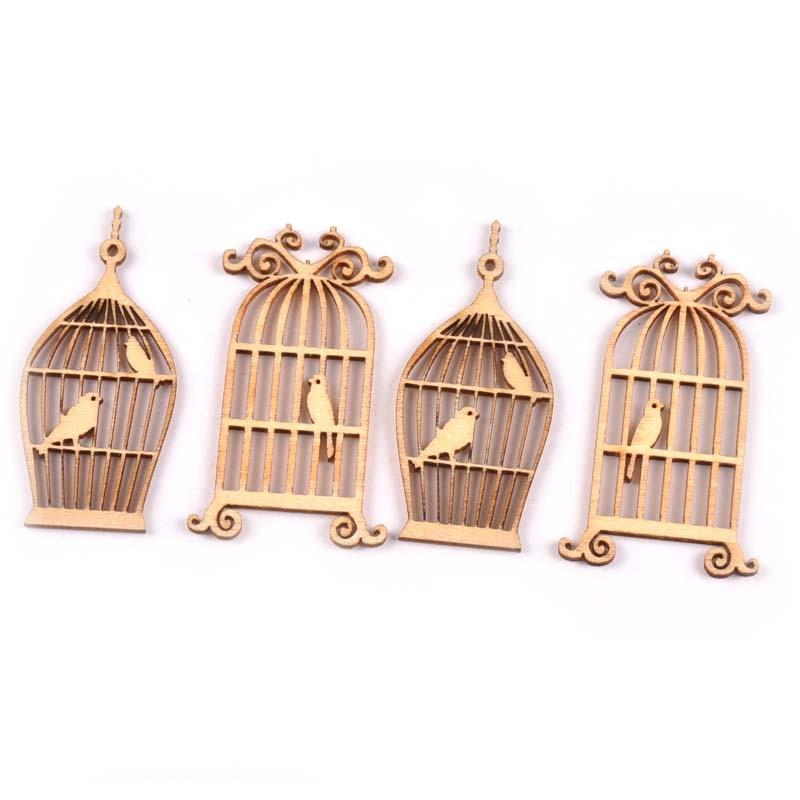 Wooden Birdcage shaped Pendant Decoration Scrapbooking Handicraft 50mm