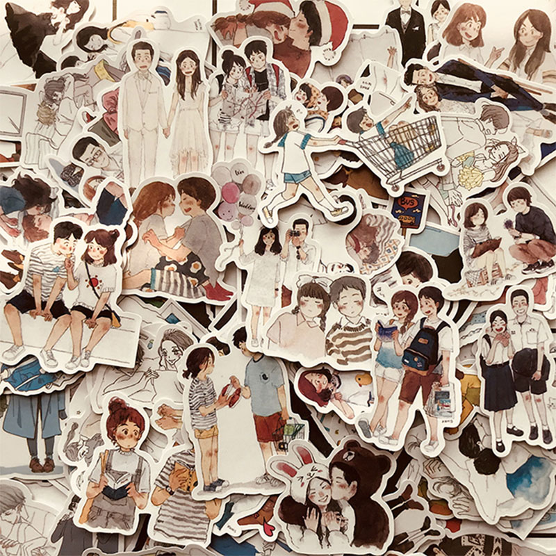 123PCS Happy Lover Couple Life Stickers DIY Scrapbooking Happy Planner Journal Crafts Album Decoration Stickers Package