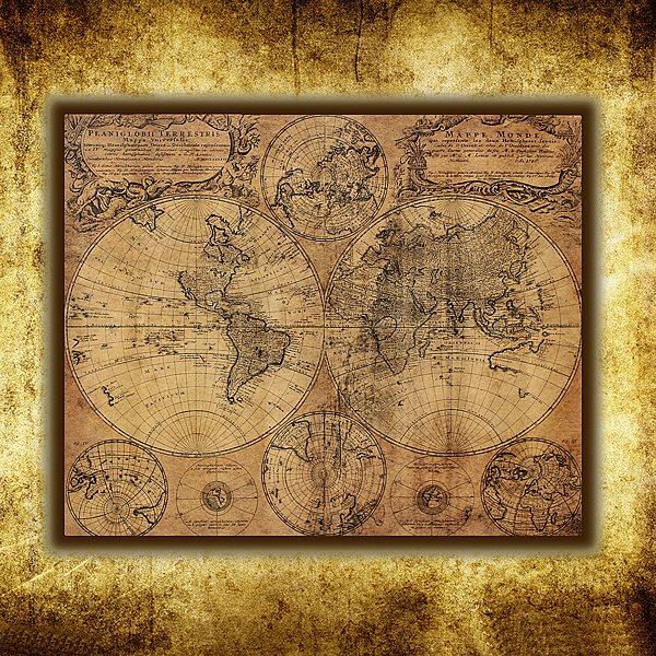 Kraft Paper Retro World Map Poster Xcm Matte Brown Paper - World map poster vintage style