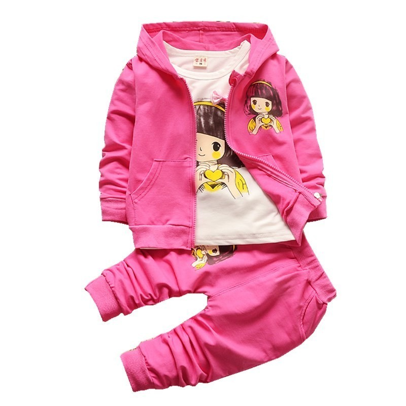 2018 New Children Girls Fashion Clothing Set Autumn Winter 3 Piece Suit Hooded Coat Clothes T-shirt Pants Baby Cotton Tracksuits fashion baby girl t shirt set cotton heart print shirt hole denim cropped trousers casual polka dot children clothing set