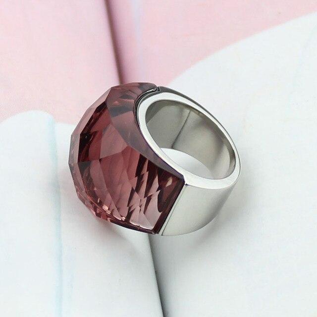 Купить женское кольцо из нержавеющей стали прозрачное винно красное картинки
