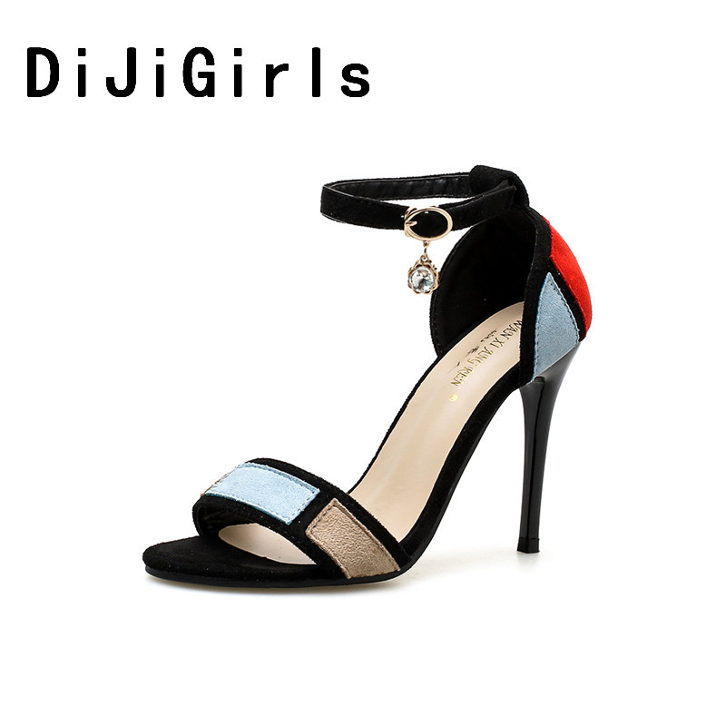 DiJiGirls New Gladiator Roman Women Sandals Spell Color Ankle Buckle Rhinestone High Hee ...
