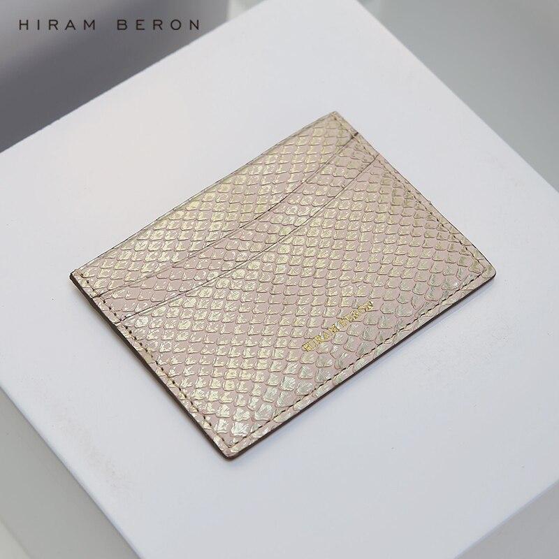 Hiram Beron Carte Titulaire Python peau protège-carte de crédit portefeuille femmes cadeau pour vacances réel en cuir livraison directe