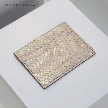 Hiram Beron kart tutucu Python cilt kredi kartı koruyucu cüzdan kadın hediye tatil için gerçek deri dropship