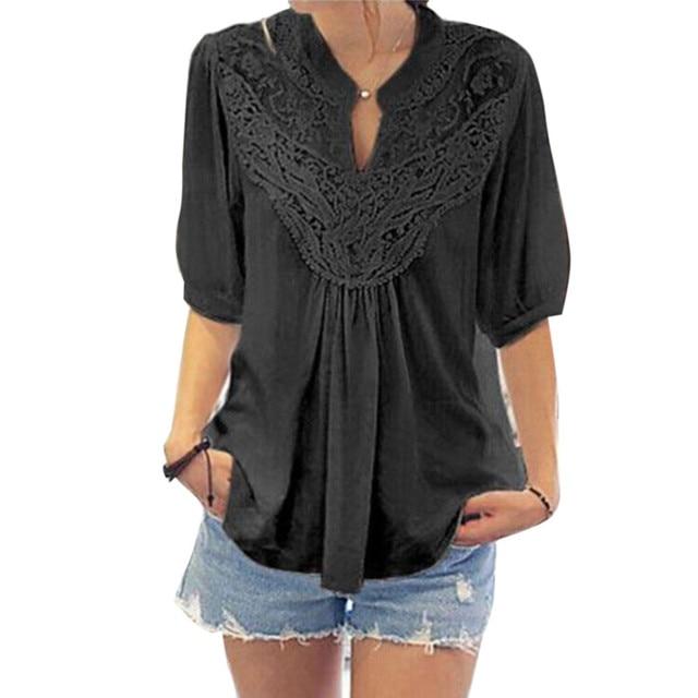 6efea08830d2 Peplum 2017 Summer Ladies Ruffle Tops Half Sleeve Womens Lace Blouse Femme  Vintage Tunics Hollow Out