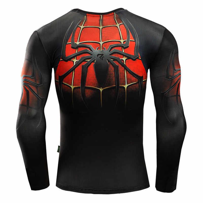 Spiderman T Shirt Pria 3D Printed T-shirt Kompresi Kebugaran Camisetas 2017 Blck Lengan Panjang Puncak Musim Gugur Superman ZOOTOP BERUANG