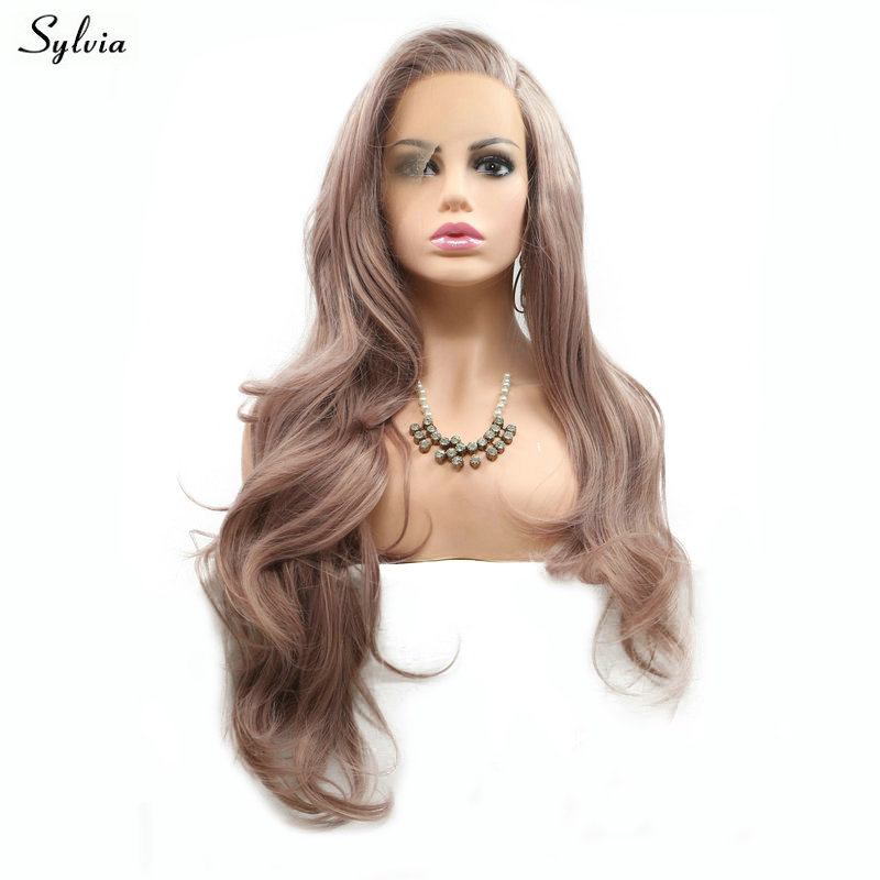 Synthetic Lace Wigs Fashion Style Pervado Hair Synthetic Hair High Temperature Fiber Brown Color 14 Ocean Wave Glueless Front Lace Wigs For Women Cosplay Wig