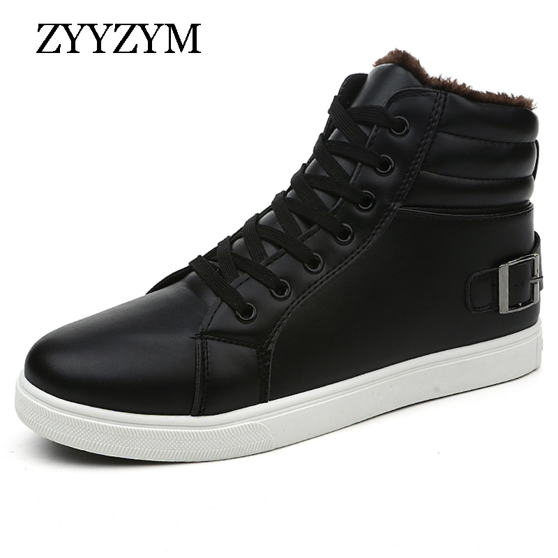 ZYYZYM Men Plush Snow Boots Winter Lace Up High Style Pu Leather Ankle Fashion Solid Color Male Flat Cotton Boot [krusdan]british style men autumn winter boots solid casual genuine leather retro boots falts brand red wine male ankle boot