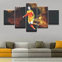 Wall Art Pictures Canvas HD Printed Modern Home Decor Framework 5 Pieces Cristiano Ronaldo Painting Football