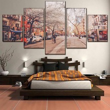 One Set 5 Pieces New York Street Landscape Cherry Trees Poster Canvas Paintings HD Prints Modular Picture Wall Art Decorative