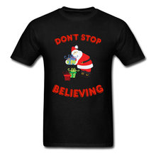 Lasting Charm Dont Stop Believing Sports T-shirt Xmas Santa Claus T Shirt Men Tshirts Christmas Gift Present(China)