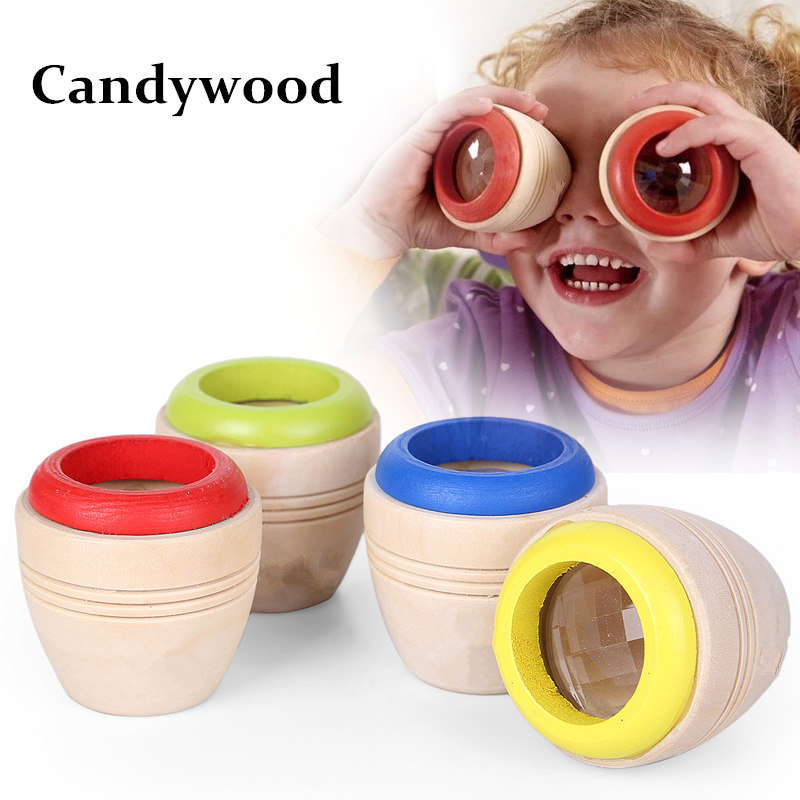 Candywood 1Pcs Wooden Imaginative Creative Educational Colorful World Toys Magic Kaleidoscope Bee Eye Effect toys for Baby Kids