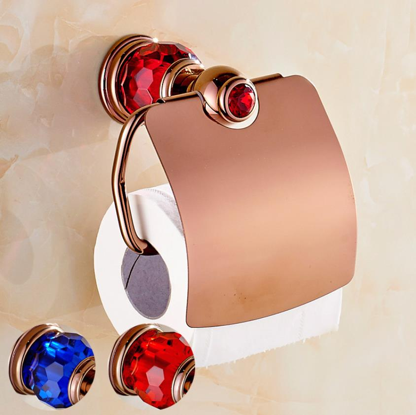 Luxury Crystal Towel Copper Antique Rose Gold Blue Red Glass Bathroom Roll Tray Toilet Tissue Box antique rose
