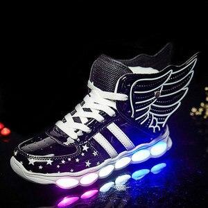 Image 5 - Kích Thước 25 37 Sạc USB Cánh Trẻ Em LED Giày Sáng Trẻ Em Áo Bé Trai & Bé Gái Giày Phát Sáng giày Zapatillas Con Luces