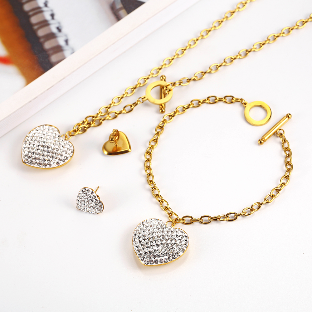 OUFEI Stainless Steel Jewelry Woman Set Heart Necklace Earrings Jewelry Set Bohemian Accessories Gifts