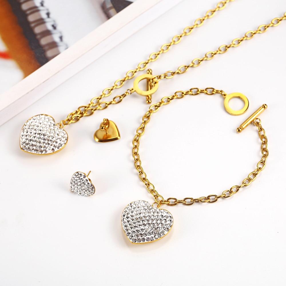 OUFEI Stainless steel Jewelry Woman Set Heart Necklace Earrings Jewelry Set Bohemian Fashion Jewelry Accessories Gifts For Women