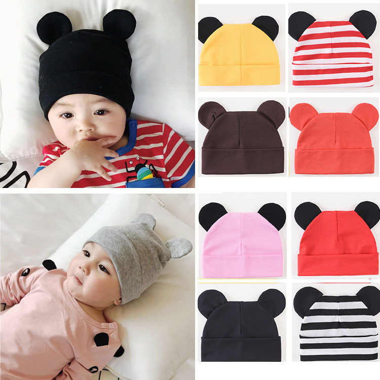 cfbc67ccd Spring and Autumn Winter Baby Hat for Boys and Girls 0-3-6-12 Months Mickey  Ear Cap for Children Newborn Pure Cotton Knitted Hat