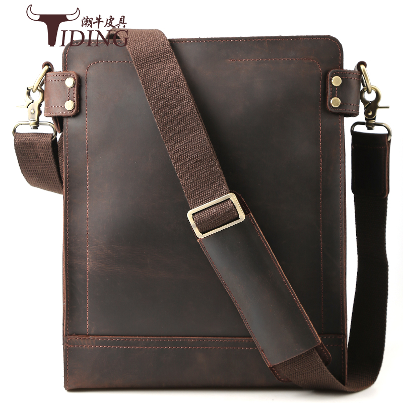 Men Shoulder Bags Genuine Leather 2018 Man Vintage High Quality Brand Fashion Business Ipad Phone Travel Crossbody Messenger Bag цена