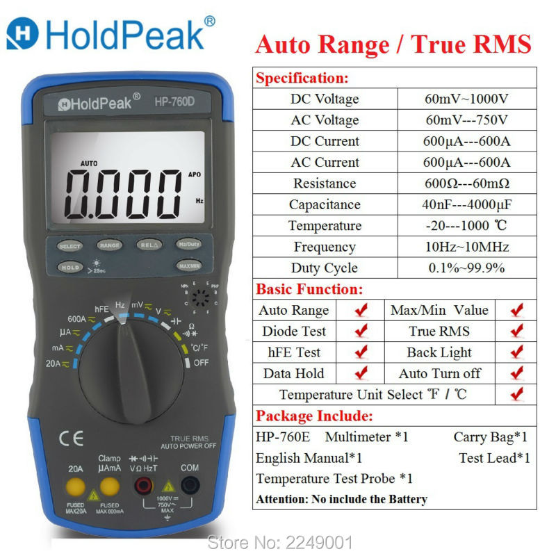 HoldPeak HP-760D Auto Range Digital Multimeter True RMS Multimetro with Min/Max Value/Frequency/Cuty Cycle Test and Carry Bag holdpeak hp 90k engine analyzer tester auto range car diagnostic tool with data output by usb multimeter multimetro