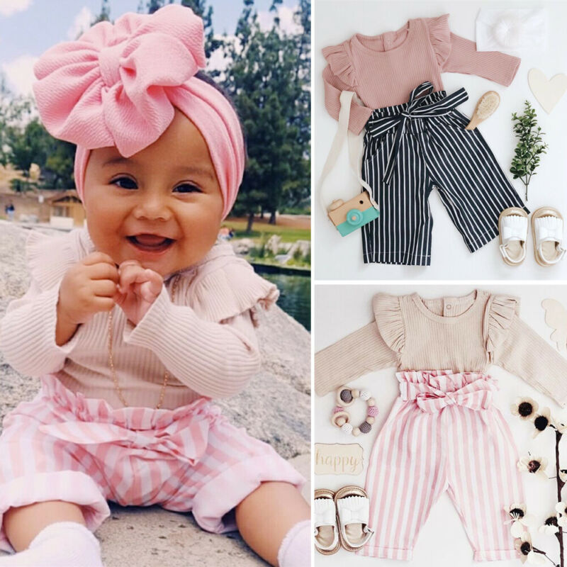 Baby Fall Clothes | Sweet Newborn Infant 0 24M Toddler Baby Girl Fall Clothes Long Sleeve Romper Top Striped Long Pants Trouser Outfits Clothes Set