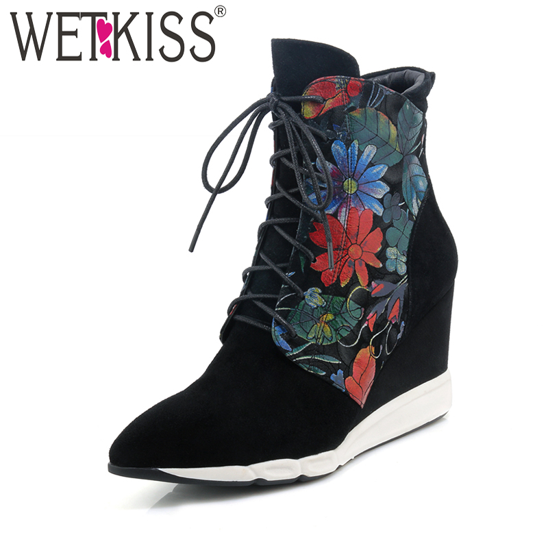 все цены на WETKISS Charming Floral Print Ankle Boots Zipper Suede Leather Winter Boots High Wedges Women Shoes Female Pointed Toe 2018 New