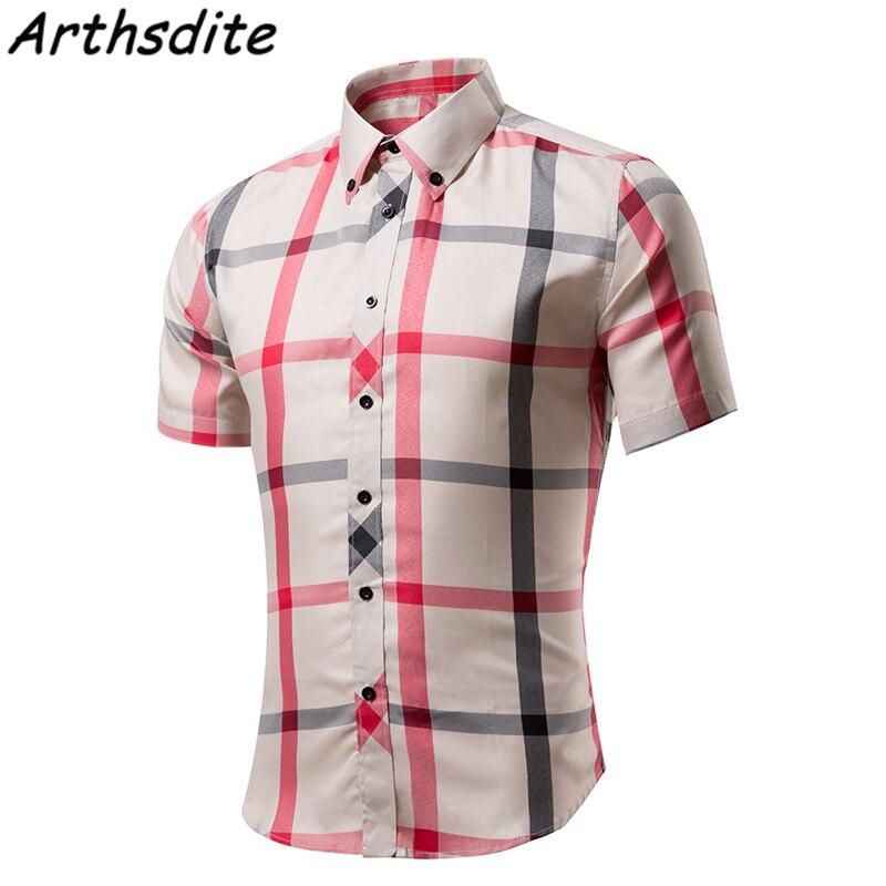 Arthsdite Men Plaid Casual Shirt Fashion Slim Fit Men Short Sleeve Shirt Cotton Casual Male Dress Shirt Social Camisa Masculina