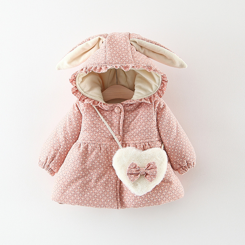 Children Warm Winter Baby Girls Infant Kids Rabbit Ear Hooded Thicken Velvet Printed Flora Parkas Coat Outwear Casaco+Bag S7693