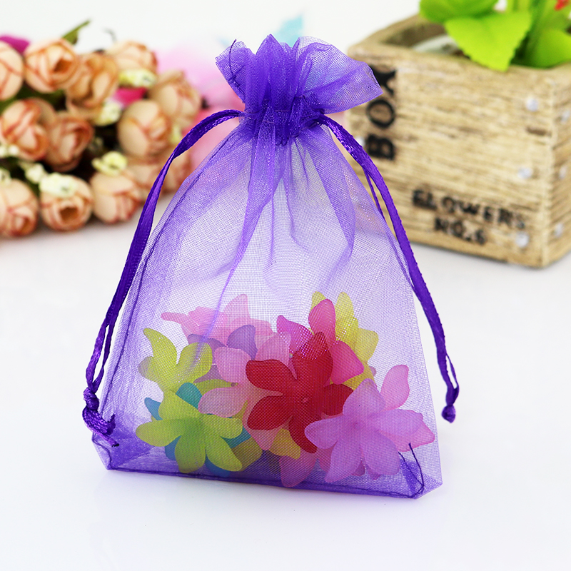 Small Wedding Gift Bags: Wholesale 200pcs/lot Deep Purple Organza Bags 9x12cm Small