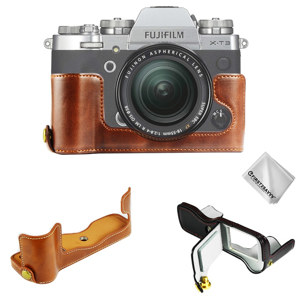 Half body PU Leather <font><b>Case</b></font> Camera Bag for <font><b>Fujifilm</b></font> Fuji <font><b>X</b></font>-T2 XT2 <font><b>X</b></font>-<font><b>T3</b></font> XT3 Set Cover with Battery Opening image