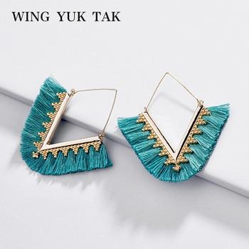 Wing yuk tak Bohemia Tassel Hoop Earrings For Women Vintage Golden Statement Jewelry