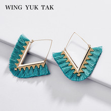 wing yuk tak Bohemia Tassel Hoop Earrings For Women Vintage Golden Statement Jewelry Triangle Colorful Charm Earrings female 2018 summer new india golden jhumki earrings bohemia blue tassel earrings hippy charm fake beach travel jewelry