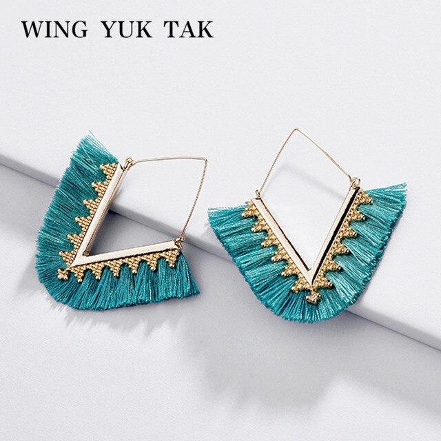 wing yuk tak Bohemia Tassel Hoop Earrings For Women Vintage Golden Statement Jewelry Triangle Colorful Charm Earrings female