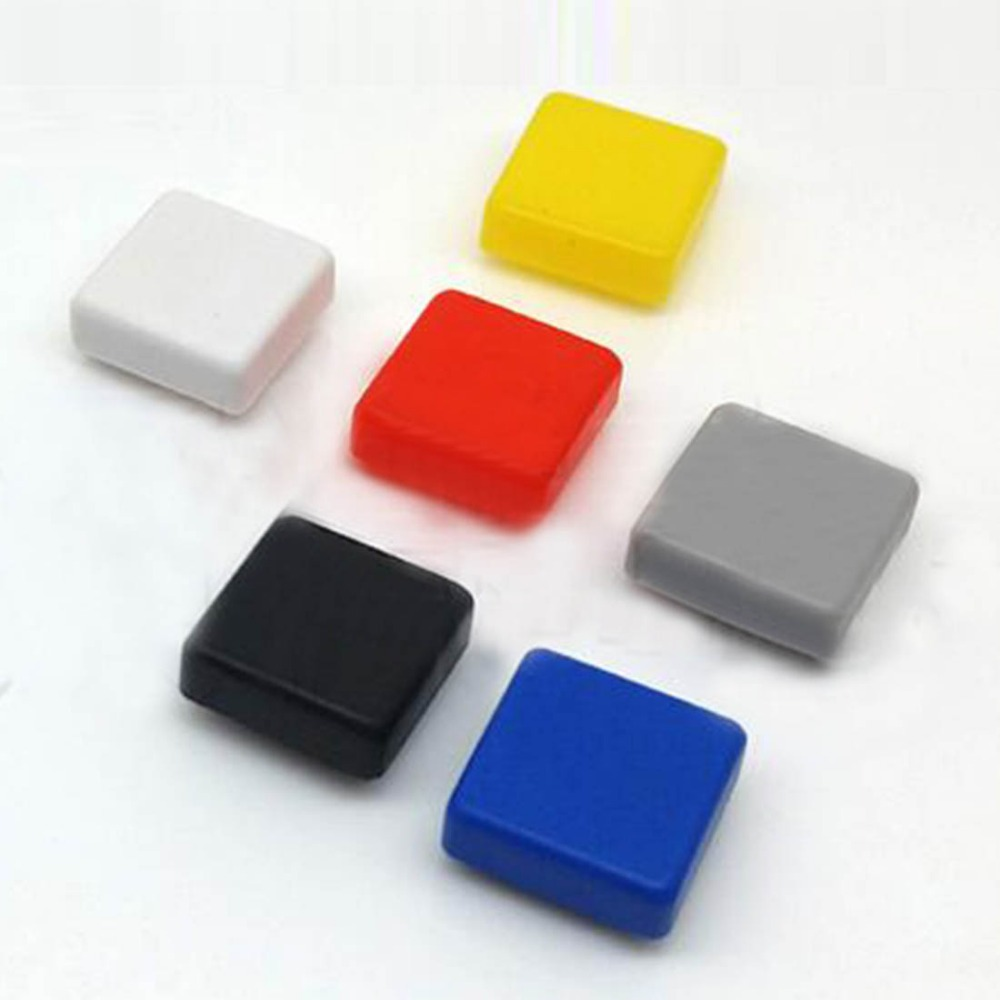 100pcs 12*12mm push button switch cap square button cap multi color button caps for 12*12mm square tactile switches